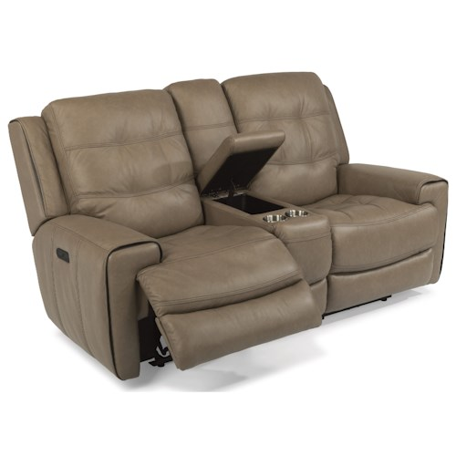 Flexsteel Latitudes-Wicklow Power Reclining Lay-Flat Loveseat with Storage Console and Power Tilt Headrest