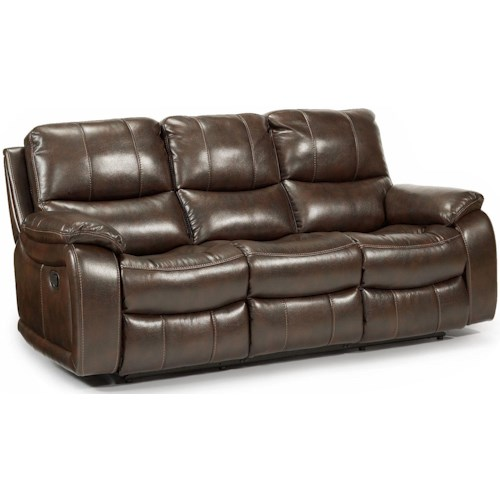 Flexsteel Latitudes - Woodstock Double Reclining Sofa with Pillow Arms and Bucket Seats