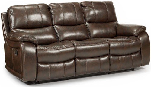 Flexsteel Latitudes - Woodstock Double Reclining Power Sofa with Pillow Arms and Bucket Seats