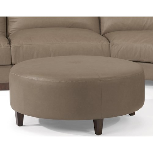 Flexsteel Latitudes-Wyman Contemporary Round Cocktail Ottoman