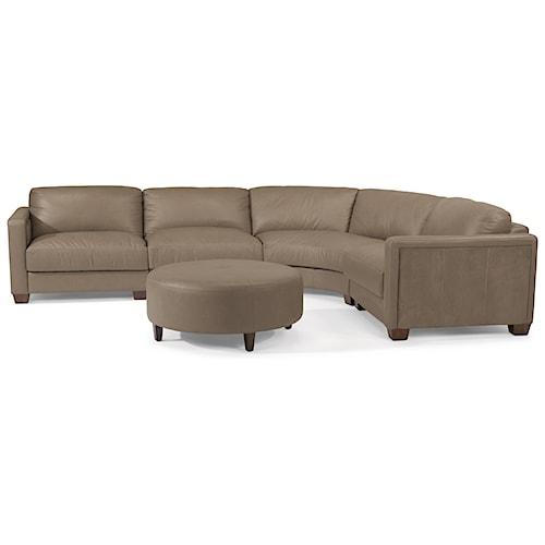 Flexsteel Latitudes-Wyman Contemporary 5 Seat Rounded Sectional