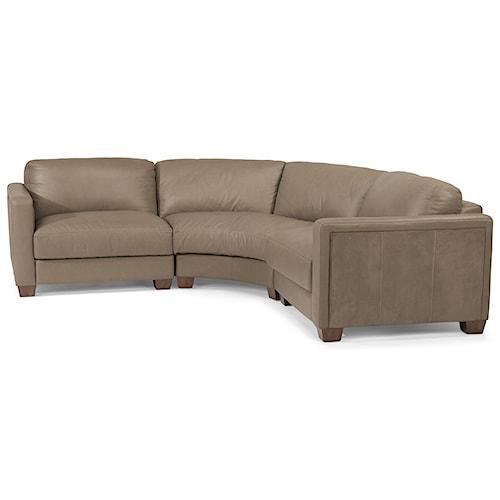 Flexsteel Latitudes Wyman Contemporary 4 Seat Rounded Sectional