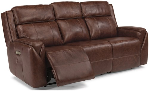 Flexsteel Latitudes-Zara Power Reclining Sofa with Power Headrests and USB Ports