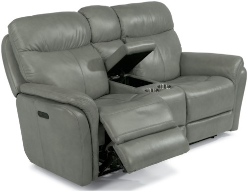 Flexsteel Latitudes-Zoey Power Reclining Love Seat with Power Headrest and Console