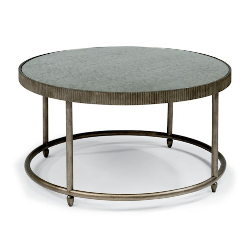 Flexsteel Legacy Transitional Round Cocktail Table with Antiqued Mirror Top