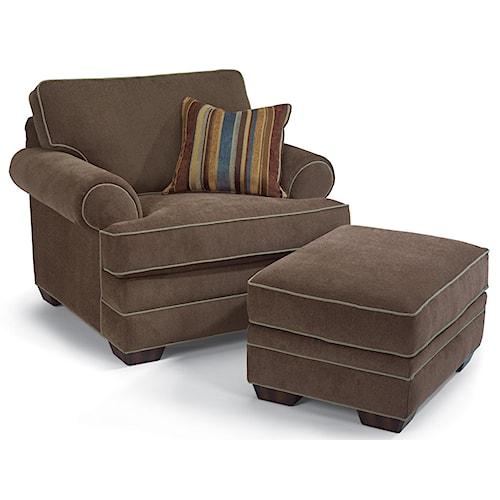 Flexsteel Lehigh Upholstered Chair & Rectangular Ottoman
