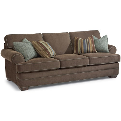 Flexsteel Lehigh Sofa with Rolled Arms and Tapered Wood Feet