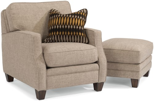 Flexsteel Lenox Transitional Chair with Scalloped Arms and Ottoman Set