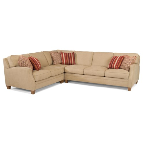 Flexsteel Lenox Three Piece Sectional Sofa with LAF Loveseat