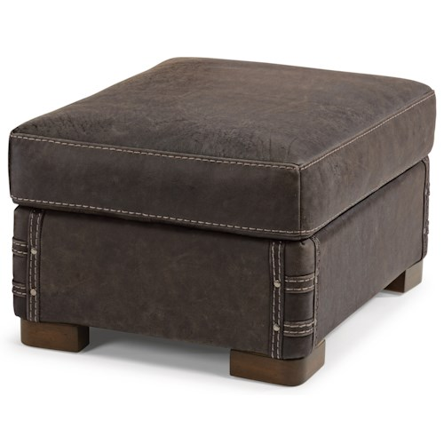 Flexsteel Lomax Rustic Leather Ottoman with Exposed Wood Feet