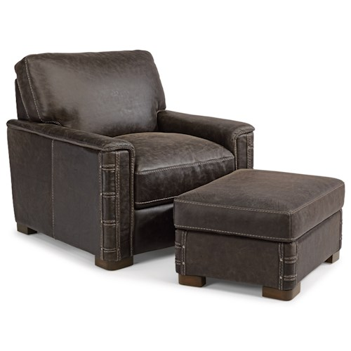 Flexsteel Lomax Rustic Leather Chair and Ottoman Set