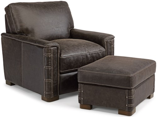 Flexsteel Latitudes - Lomax Rustic Leather Chair and Ottoman Set