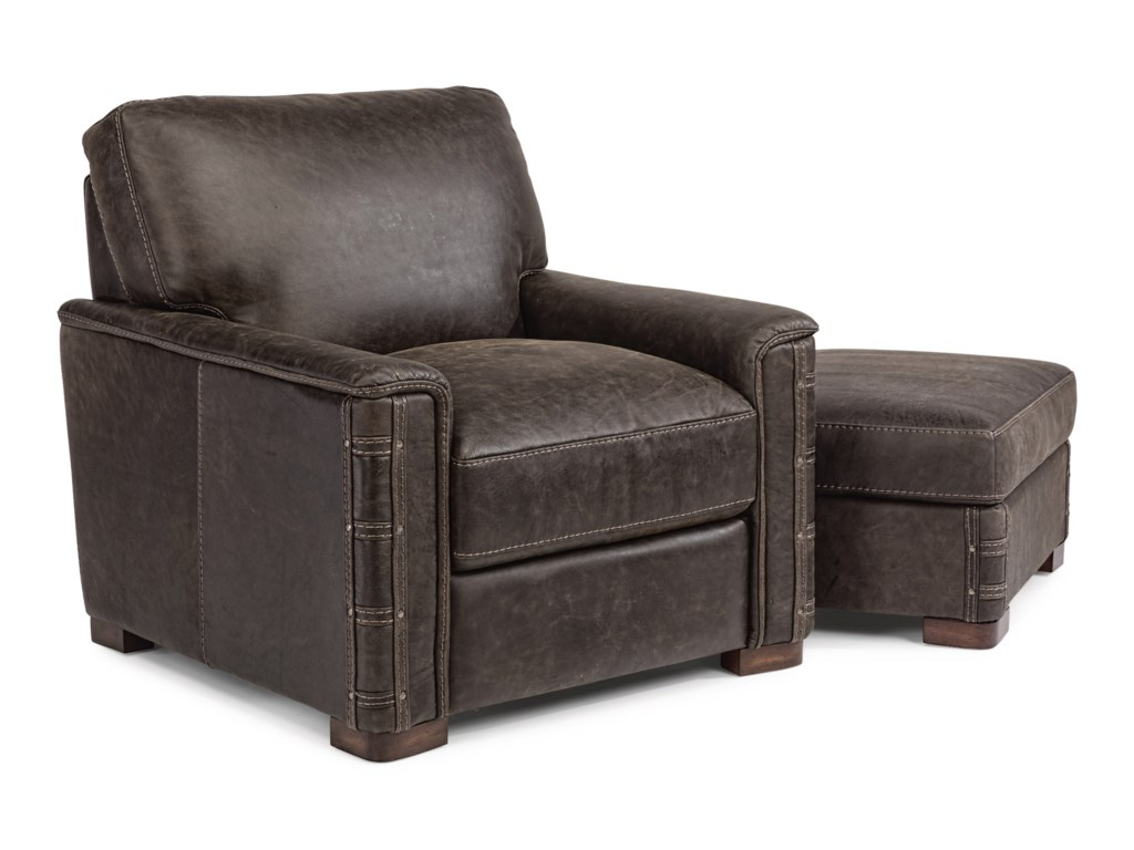 Flexsteel Latitudes - LomaxLeather Chair and Ottoman Set