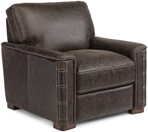 Flexsteel Lomax Rustic Leather Chair with Nailhead Details