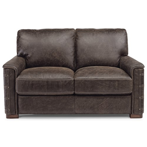 Flexsteel Lomax Rustic Leather Love Seat with Nailhead Details