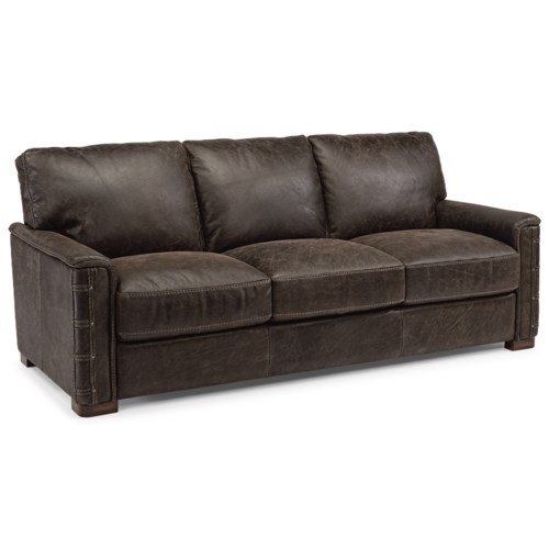 Flexsteel Lomax Rustic Leather Sofa With Nailhead Details