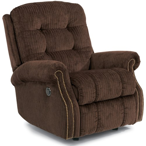 Flexsteel Mackenzi Casual Button Tufted Power Rocking Recliner (with Nailheads)