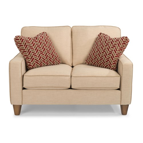 Flexsteel MacLeran Stationary Love Seat with Reversible Seat Cushions and Welt Cord Accent