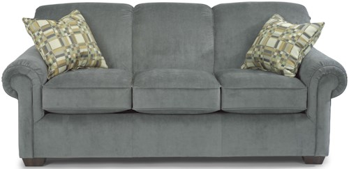 Flexsteel Main Street Stationary Sofa with Rolled Arms
