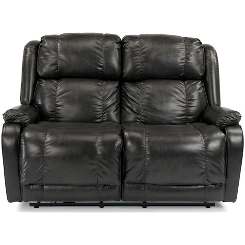 Flexsteel Marcus Power Reclining Love Seat with Pillow Arms