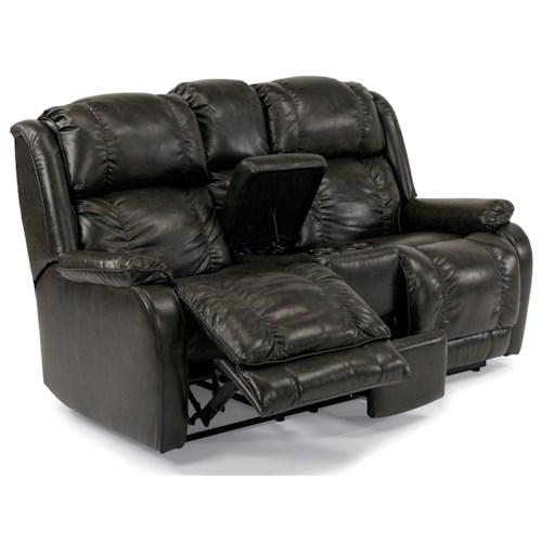 Flexsteel Marcus Power Reclining Love Seat with Console