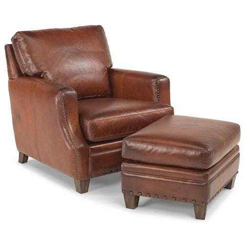 Flexsteel Latitudes Maxfield Rustic Leather Chair And Ottoman Set
