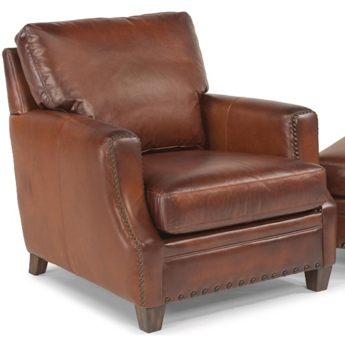 Flexsteel Latitudes - Maxfield Rustic Leather Chair with Nailhead Trim