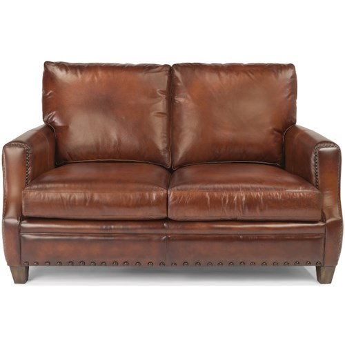 Flexsteel Latitudes - Maxfield Rustic Leather Love Seat with Nailhead Trim