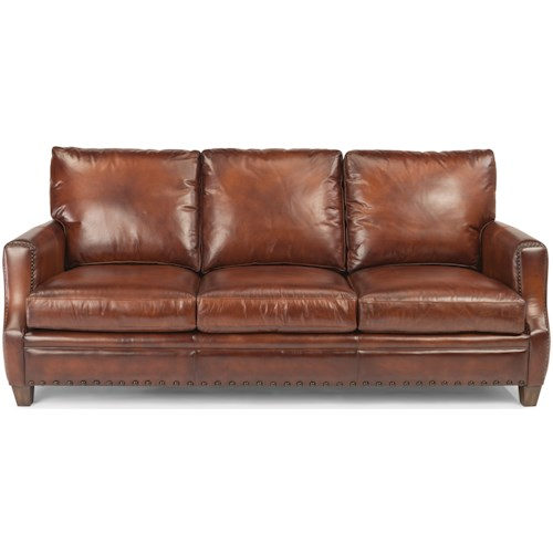 Flexsteel Latitudes - Maxfield Rustic Leather Sofa with Nailhead Trim