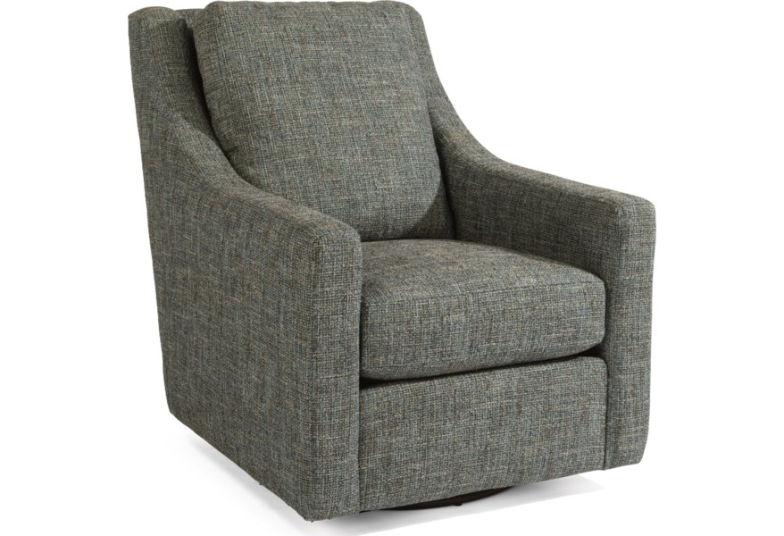 Murph Casual Contemporary Swivel Chair with Loose-Pillow Back by Flexsteel  at Dunk & Bright Furniture