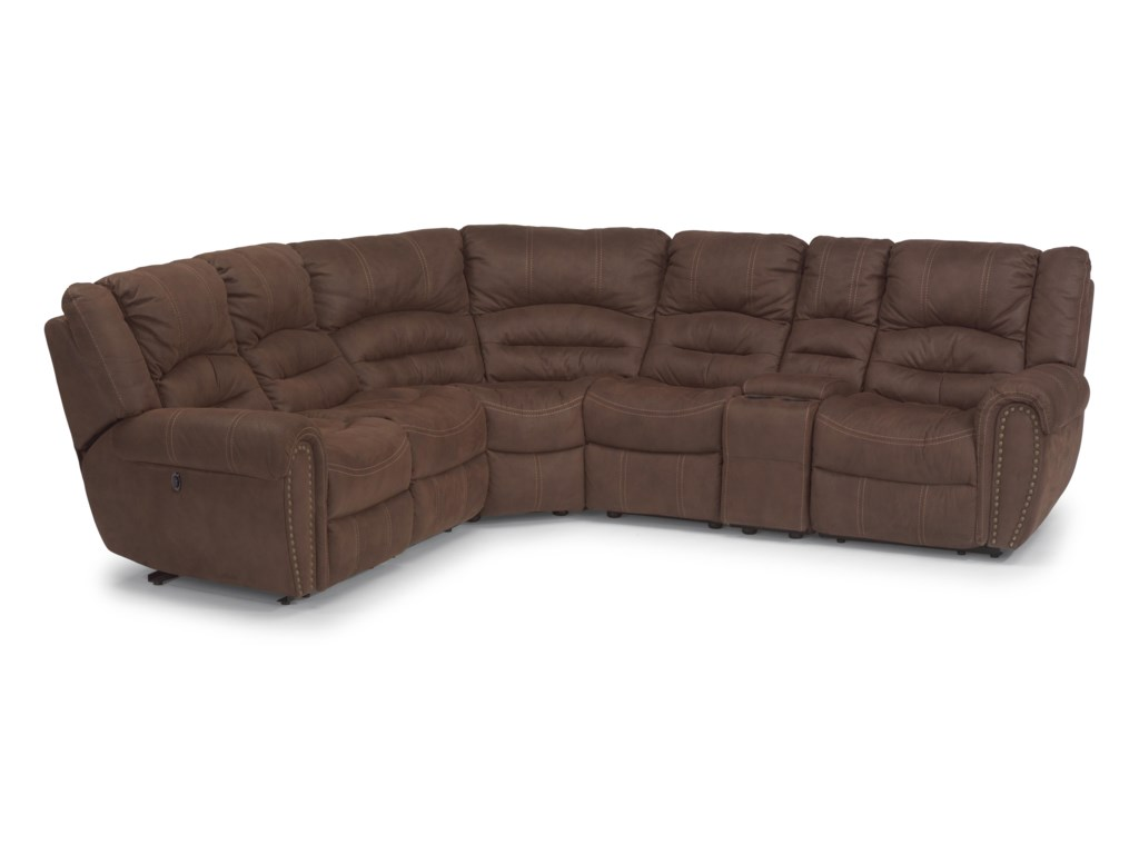 Flexsteel Latitudes - New TownPower Reclining Sectional Sofa with Headrest