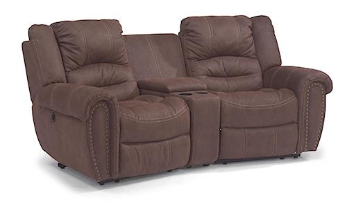 Flexsteel Latitudes - New Town Three Power Piece Reclining Sectional Sofa with Nailhead Studs