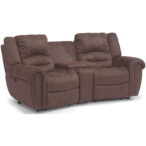Flexsteel Latitudes - New Town Three Power Piece Reclining Sectional Sofa with Nailhead Studs