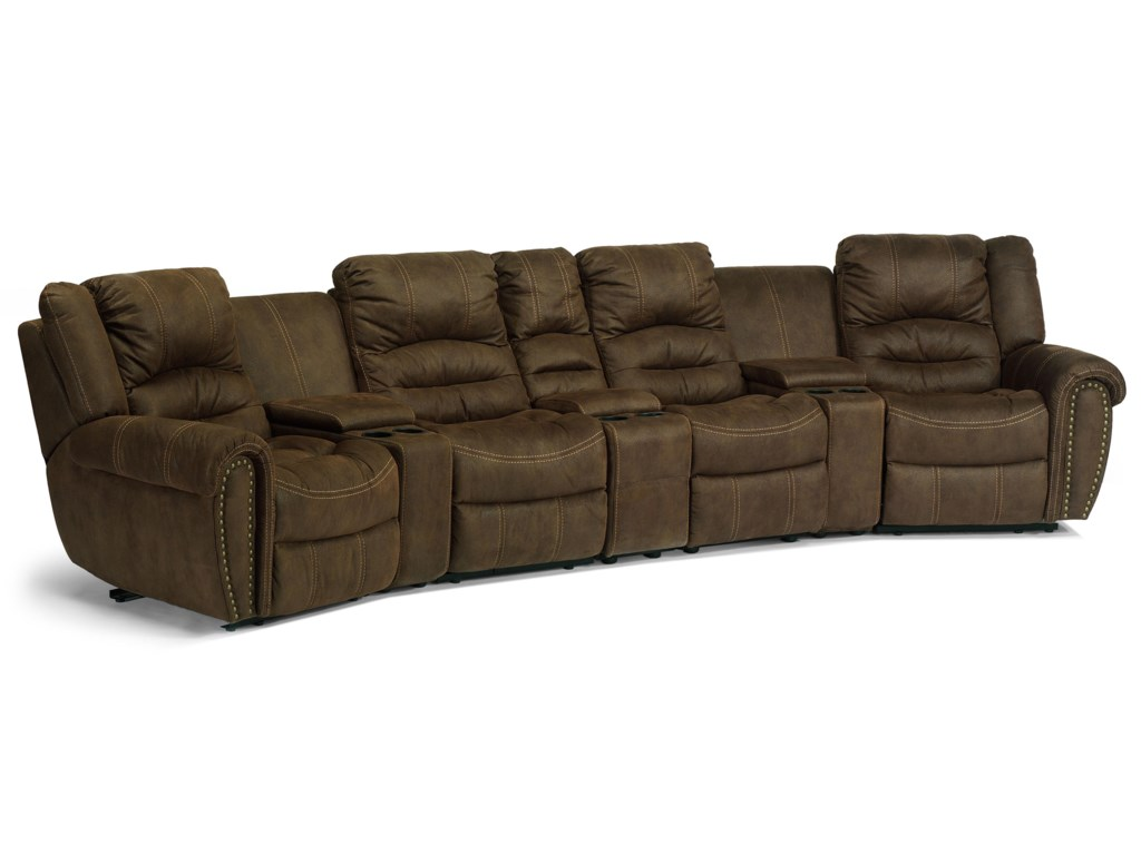 Flexsteel Laudes New Town Reclining Sectional Sofa With Headrest
