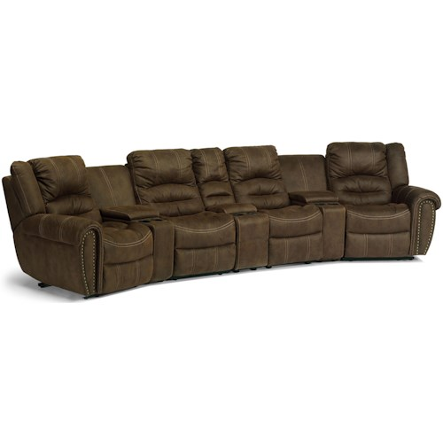 Flexsteel Laudes New Town Curved Reclining Sectional Sofa With Storage Consoles