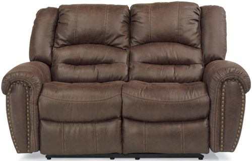 Flexsteel Latitudes - New Town Power Reclining Loveseat with Nailhead Studs