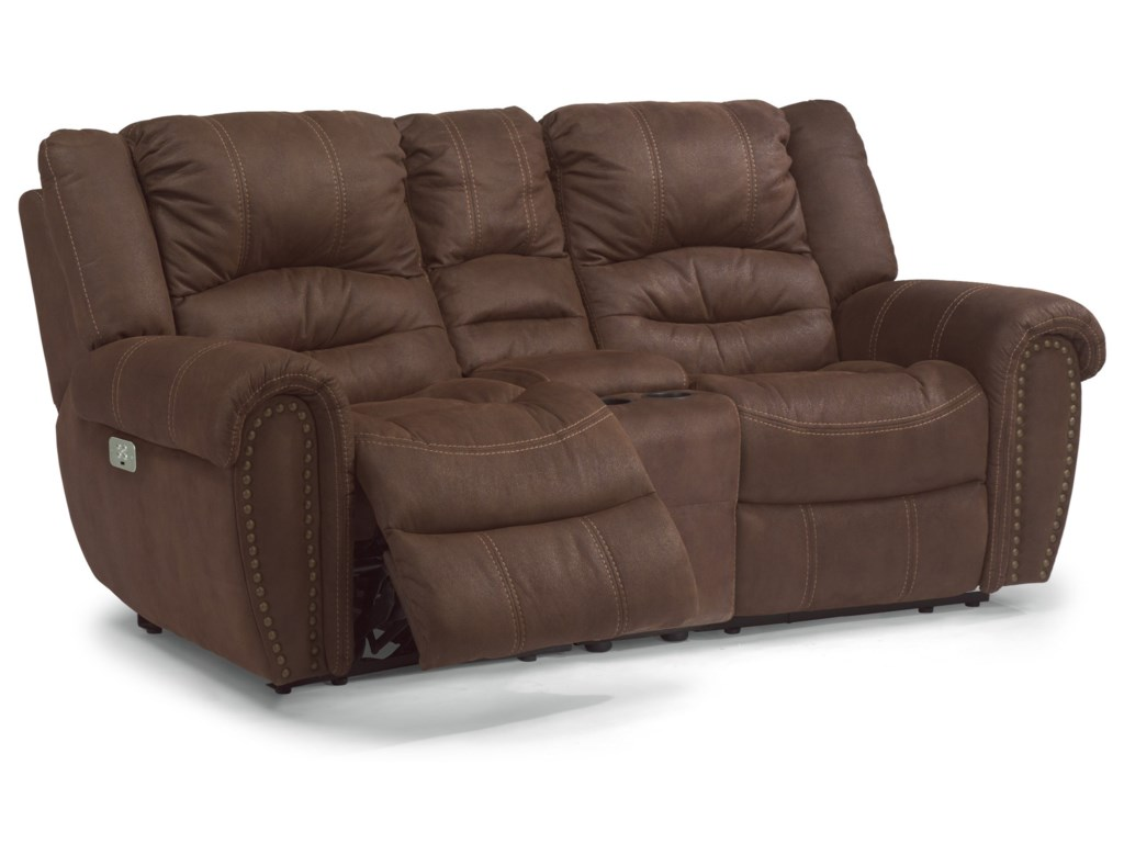 Flexsteel Latitudes - New TownPower Reclining Console Loveseat with Pwr HR