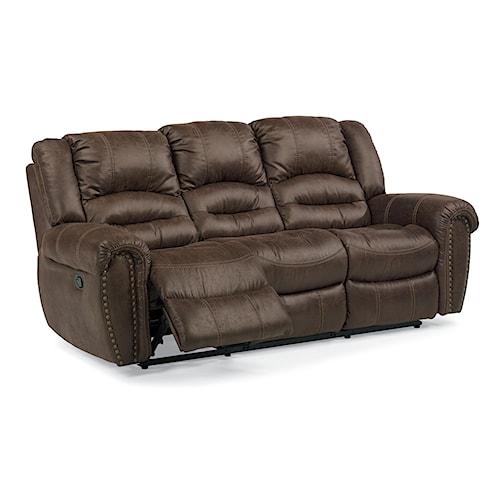 Flexsteel Latitudes - New Town Reclining Sofa with Nailhead Studs