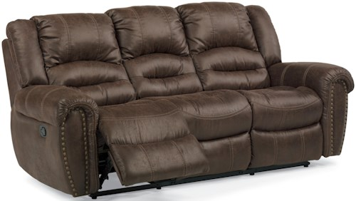 Flexsteel Latitudes - New Town Power Reclining Sofa with Nailhead Studs