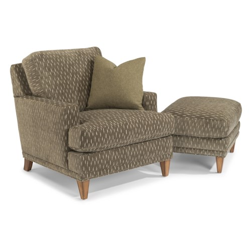 Flexsteel Ocean Chair and Ottoman Set (No Nails)
