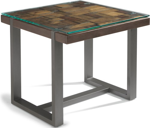 Flexsteel Patchwork Lamp Table with Glass Overlay Top