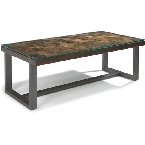 Flexsteel Patchwork Rectangle Cocktail Table with Steel Frame
