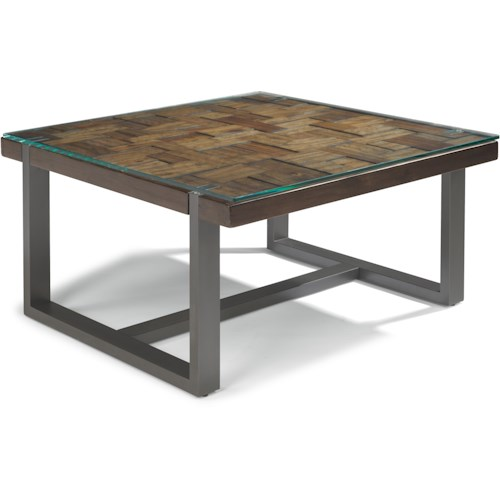 Flexsteel Patchwork Square Cocktail Table with Steel Frame