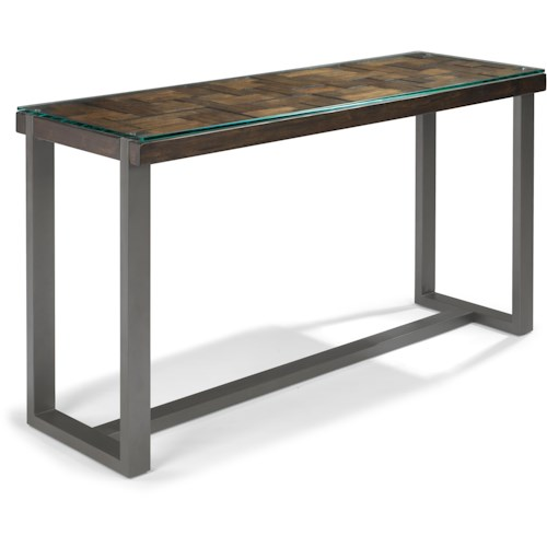 Flexsteel Patchwork Sofa Table with Glass Top Overlay