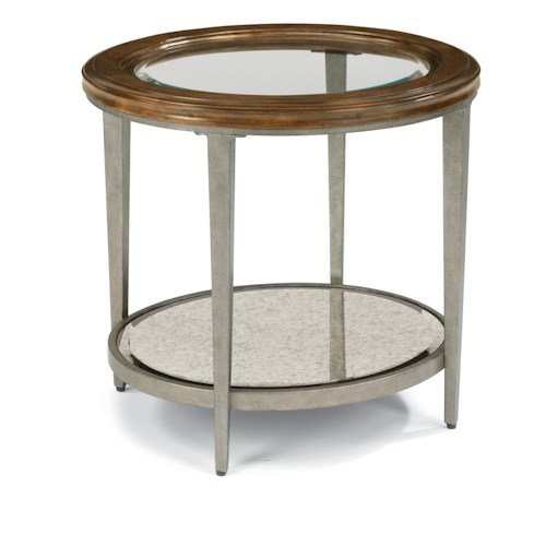 Flexsteel Patina Transitional End Table with Glass Top and Antiqued Mirror Shelf