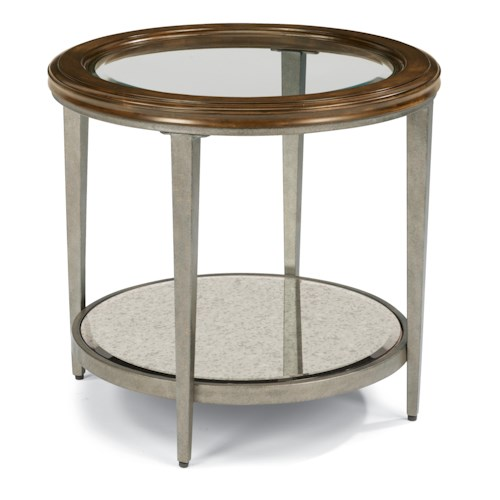 Flexsteel Patina Transitional Lamp Table with Glass Top and Antiqued Mirror Shelf