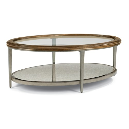 Flexsteel Patina Transitional Oval Cocktail Table with Glass Top and Antiqued Mirror Shelf