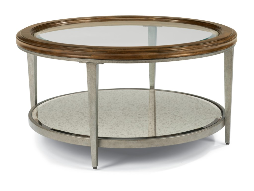 Flexsteel patina transitional round cocktail table with glass top patina transitional round cocktail table with glass top and antiqued mirror shelf by flexsteel geotapseo Images