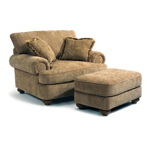 Flexsteel Patterson  Traditional Chair & Ottoman