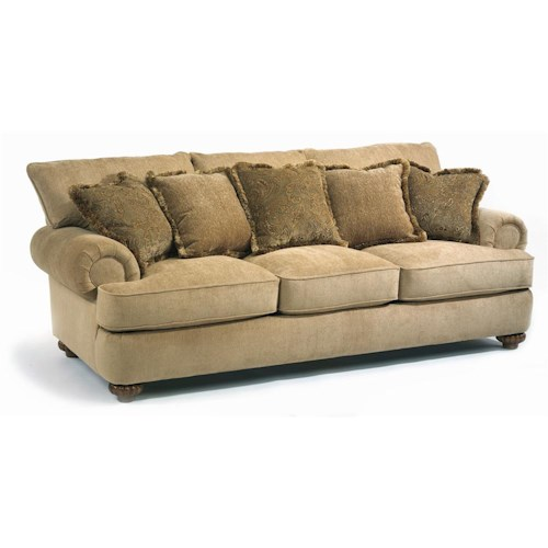 Flexsteel Patterson Stationary Sofa with Rolled Arms - Flexsteel Patterson Stationary Sofa With Rolled Arms - Wayside